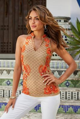 Beaded Embellished Sleeveless Tank Top