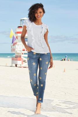 Star-Print Slim Ankle Jean