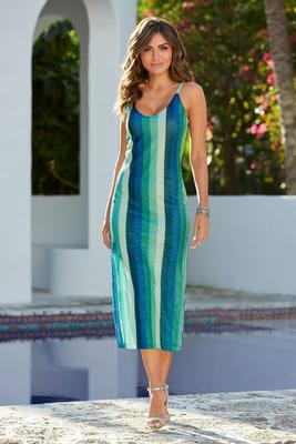 Display product reviews for Sequin-Striped Midi Dress