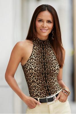 Display product reviews for Leopard-Print Mock-Neck Tank Top