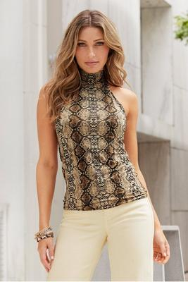 Display product reviews for Snake-Print Mock-Neck Tank Top