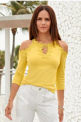 So Sexy™ Lace Cold-Shoulder Three-Quarter Sleeve Top