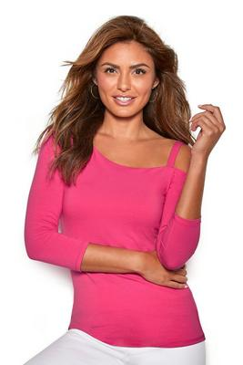 so sexy one-shoulder three-quarter-sleeve top
