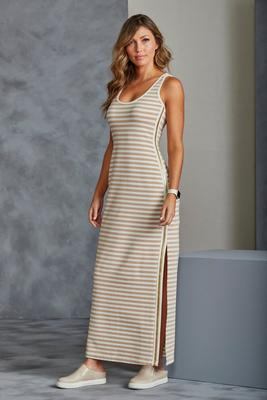 Striped Metallic Track-Stripe Maxi Dress