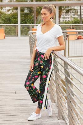 Floral Scuba Racer-Stripe Sport Pant