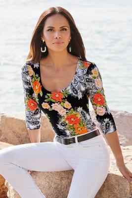 So Sexy™ Floral Print Scoop-Neck Top