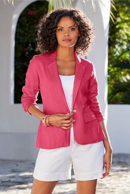 Linen Single-Button Blazer