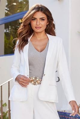 linen single-button blazer