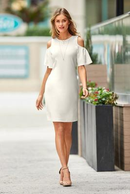 Beyond Travel™ Flutter Cold-Shoulder Dress