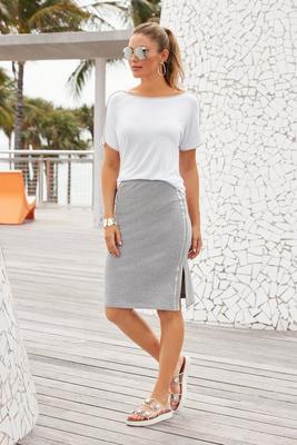 Metallic Racer-Stripe Sport Skirt