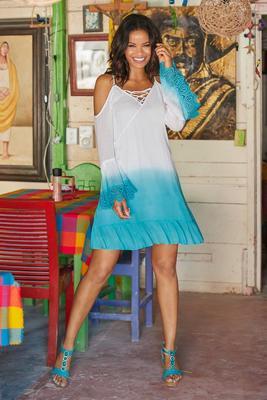 Summer Essentials Gauze Lace-Up Cold-Shoulder Dres