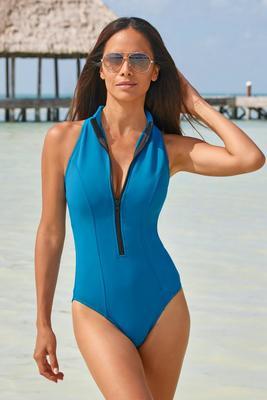 High-Neck Zip-Front Scuba One-Piece Swimsuit