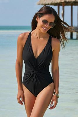 Twist-Front Plunging One-Piece Swimsuit