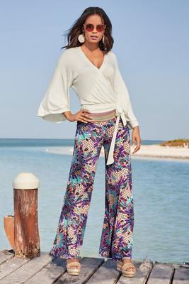 multicolor banded print palazzo pant