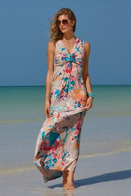 Bandana Patch Floral Printed Maxi Dress