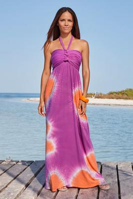 Embellished Tie-Dye Halter Maxi Dress