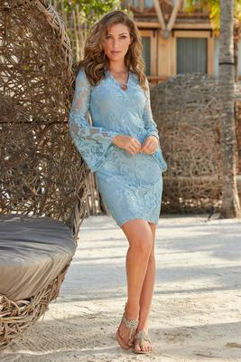 Flare-Sleeve Keyhole Lace Dress