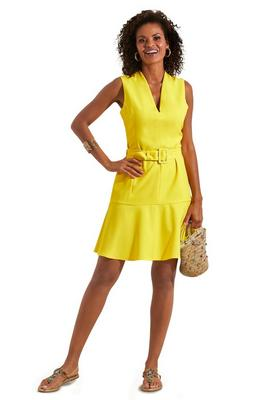 neon belted ruffle flounce dress