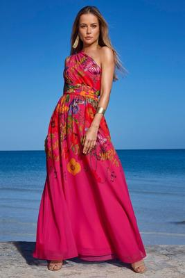 one-shoulder floral printed gown