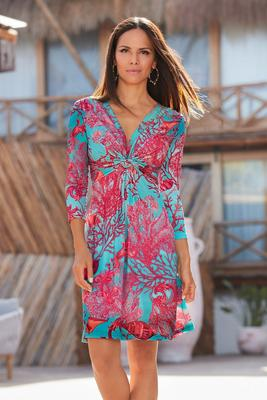 Three-Quarter Sleeve Sea Life Print Dress