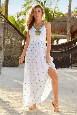 Sequin Polka-Dot Maxi Dress