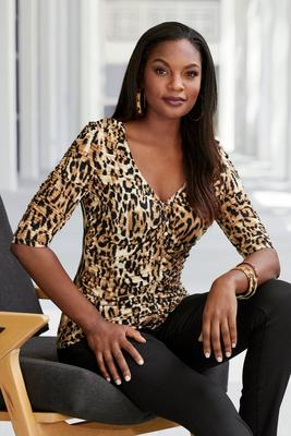 Leopard Print Ruched Covered Button Elbow-Sleeve Top