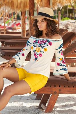 Off-the-Shoulder Embroidered Flare Sleeve Top