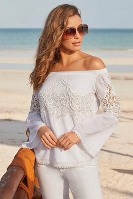 Off-the-Shoulder Lace Inset Top