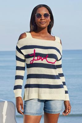 love graphic cold shoulder sweater
