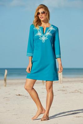 Three-Quarter Sleeve Embroidered Tunic Dress