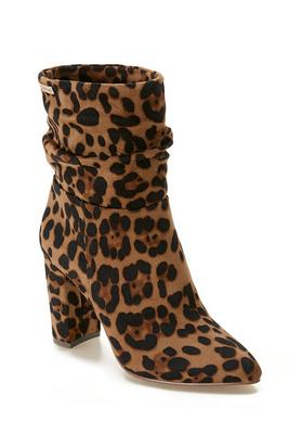 leopard slouch bootie