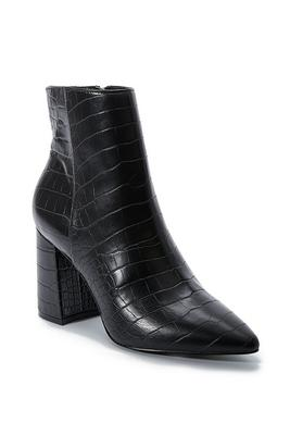 pointed-toe faux-leather croc bootie