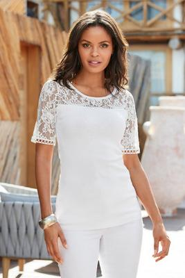 lace detail short sleeve sweater