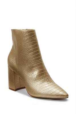 Metallic Pointed-Toe Faux-Leather Croc Bootie