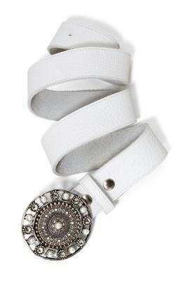 White Stone Buckle Belt