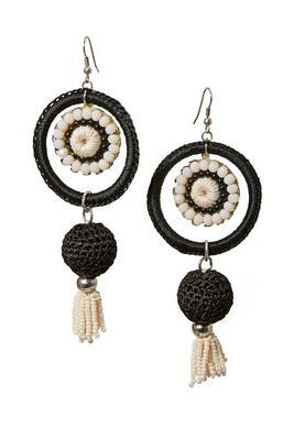 beaded & woven drop earrings