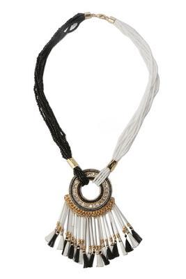 Bead Layered Tassel Statement Necklace