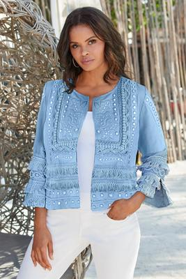 Three-Quarter Sleeve Mirror Fringe Jacket