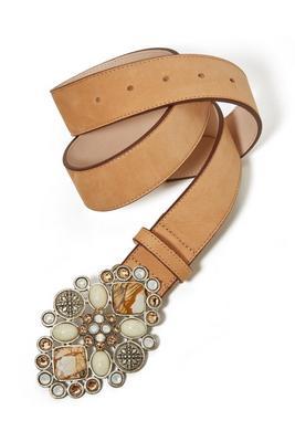 Neutral Stone Embellished Buckle Belt