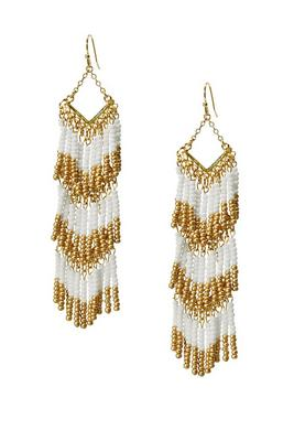 beaded tiered fringe earring