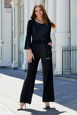 Beyond Travel Belted Flare-Sleeve Jumpsuit