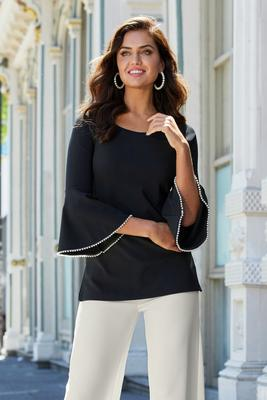 Beyond Travel Pearl Trim Flare-Sleeve Top