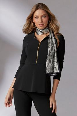 Display product reviews for Beyond Travel™ Peplum Zip Up Long-Sleeve Top
