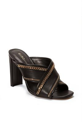 chain detail peep-toe mule