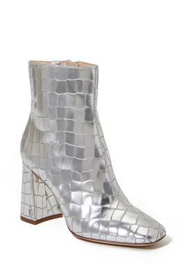 metallic croc bootie