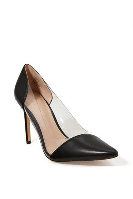 pointed-toe vinyl pump