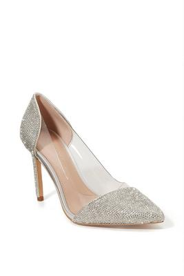 rhinestone pointed-toe vinyl pump