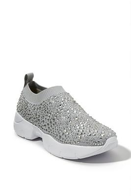 embellished knit slip-on sneaker