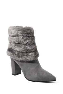 fur trim suede ankle bootie