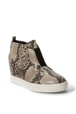 python slip-on wedge sneaker